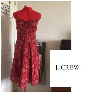 Strapless Size 6 J. Crew Red Floral Dress